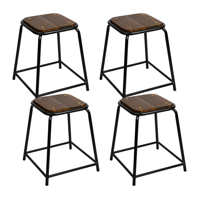 Artiss Set of 4 Pine Wood Bar Stools - Black and Brown