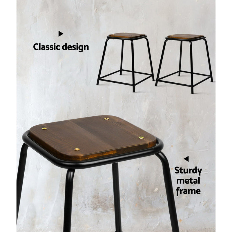 Artiss Set of 4 Pine Wood Bar Stools - Black and Brown - Sale Now