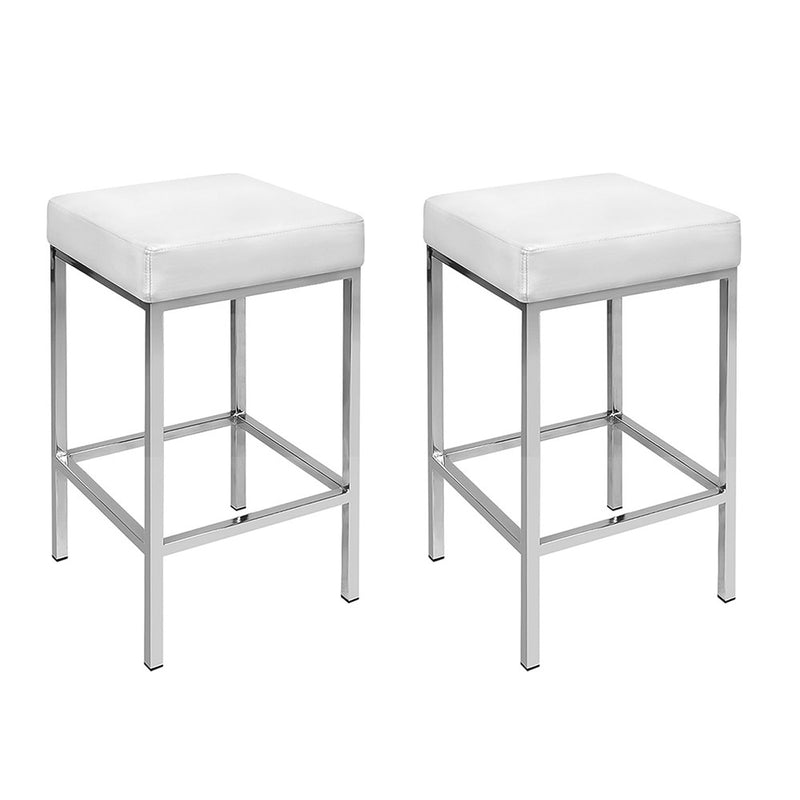 Artiss Set of 2 PU Leather Backless Bar Stools - White and Chrome