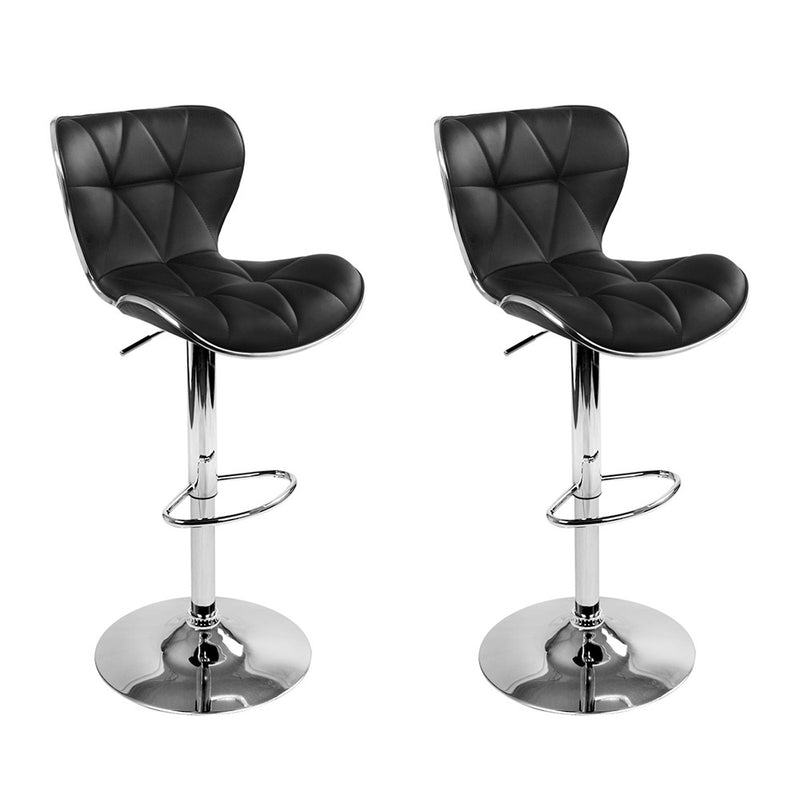 Artiss Set of 2 PU Leather Patterned Bar Stools - Black and Chrome
