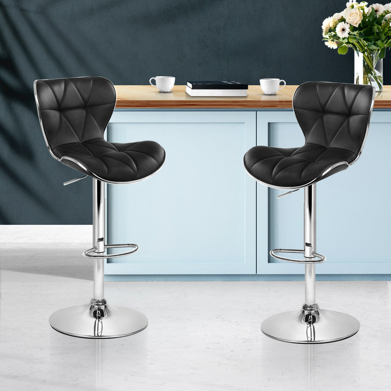 Artiss Set of 2 PU Leather Patterned Bar Stools - Black and Chrome - Sale Now