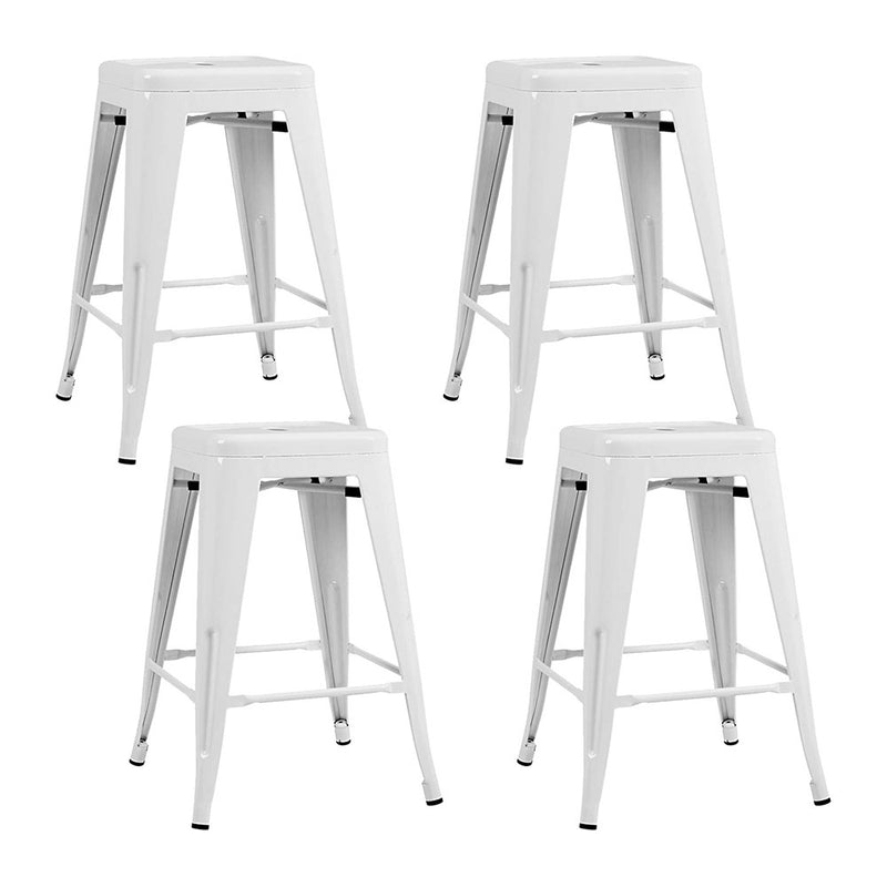 Artiss Set of 4 Replica Tolix Bar Stools Metal Bar Stool Kitchen Cafe Chair 61cm White