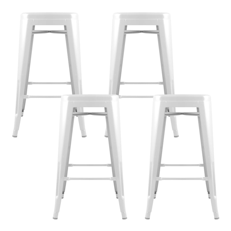 Artiss Set of 4 Replica Tolix Bar Stools Metal Bar Stool Kitchen Cafe Chair 61cm White - Sale Now