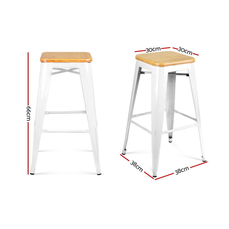 Artiss Set of 2 Metal and Bamboo Bar Stools - White - Sale Now
