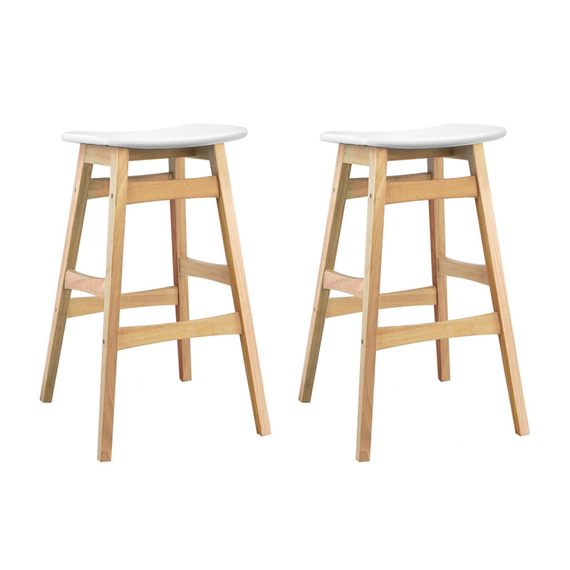 Artiss Set of 2 Padded PU Leather Wooden Bar Stools - White