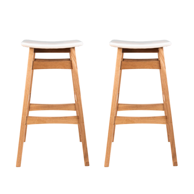 Artiss Set of 2 Padded PU Leather Wooden Bar Stools - White - Sale Now