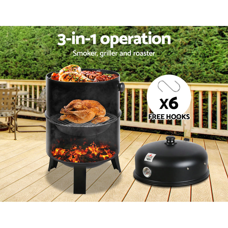 Grillz 3-in-1 Charcoal BBQ Smoker - Black - Sale Now