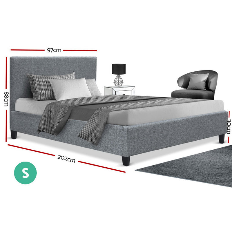 Artiss Neo Bed Frame Fabric - Grey Single - Sale Now