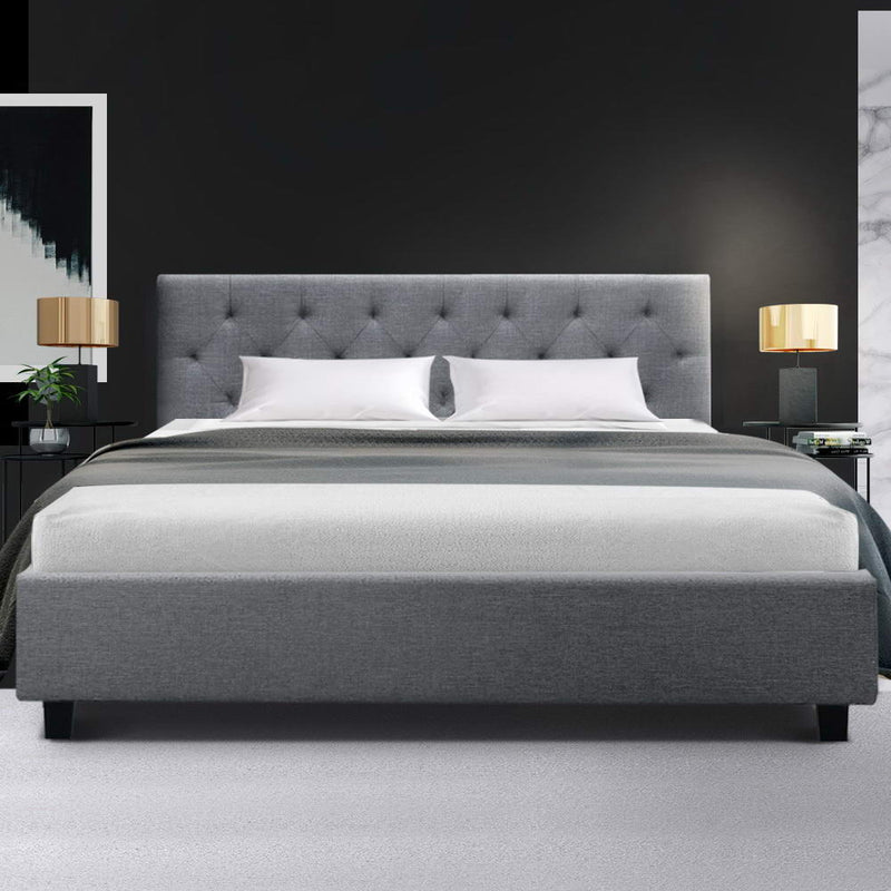 Artiss Vanke Bed Frame Fabric- Grey Queen - Sale Now