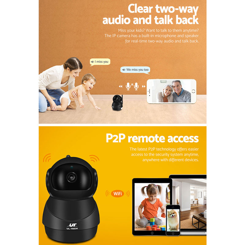 UL-TECH 1080P Wireless IP Camera CCTV Security System Baby Monitor Black - Sale Now