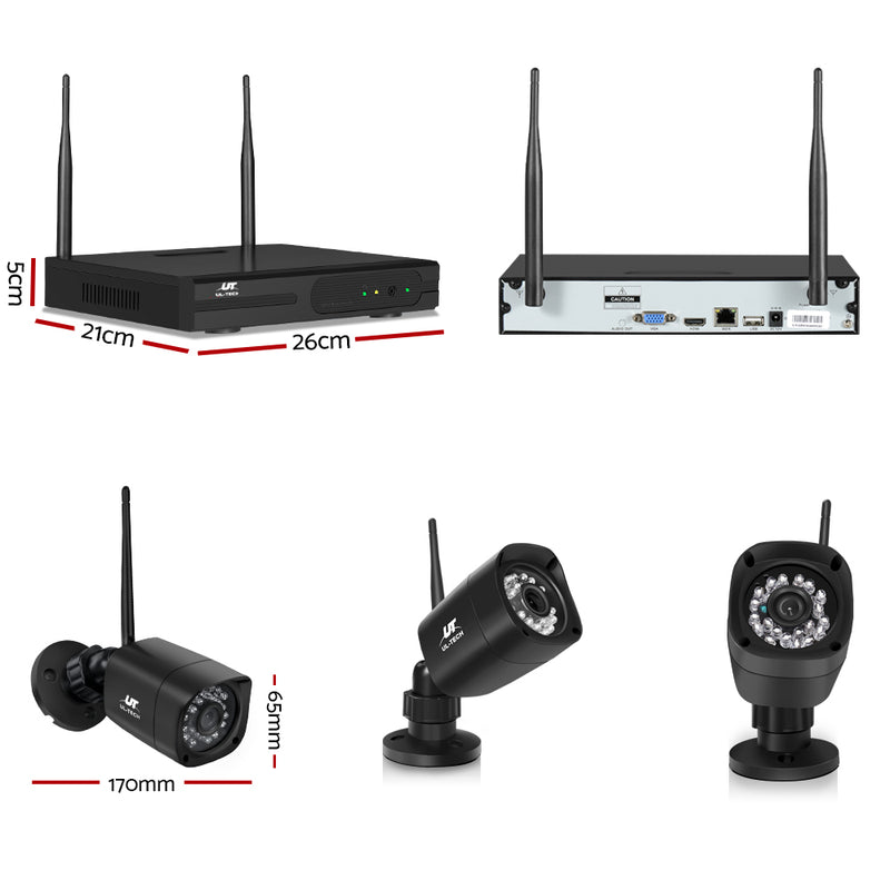 UL-TECH 1080P 4CH NVR Wireless 4 Security Cameras Set - Sale Now