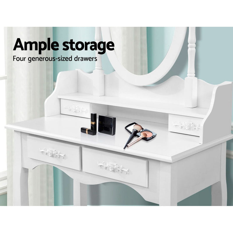 Artiss 4 Drawer Dressing Table with Mirror - White - Sale Now