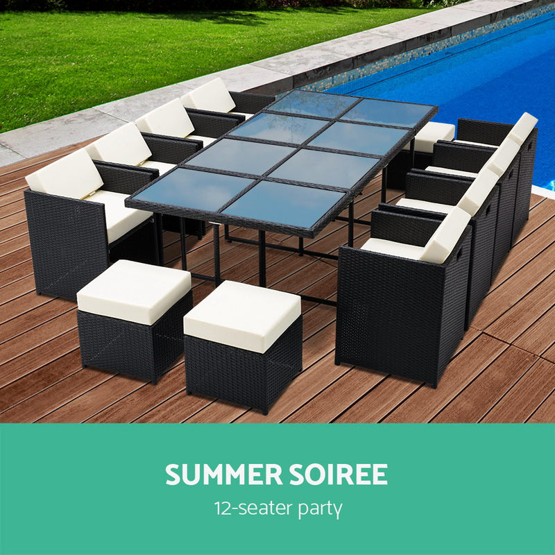 Gardeon 13 Piece Wicker Outdoor Dining Table Set - Sale Now