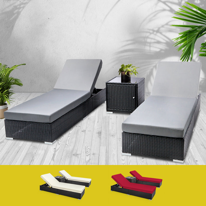 Outdoor Sun Lounge Wicker Lounger Setting Day Bed Chair Pool Furniture Rattan Sofa Cushion Garden Patio 3pc Gardeon Black Frame - Sale Now