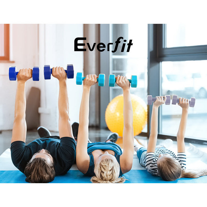 Everfit 6 Piece Dumbbell Weights Set 12kg with Stand - Sale Now