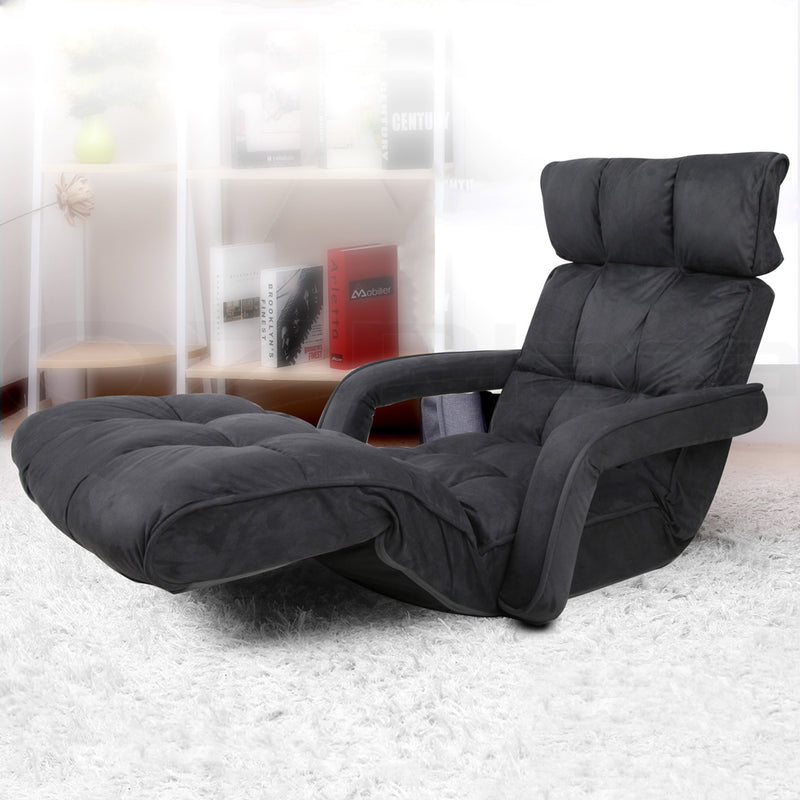 Artiss Adjustable Lounger with Arms - Charcoal - Sale Now