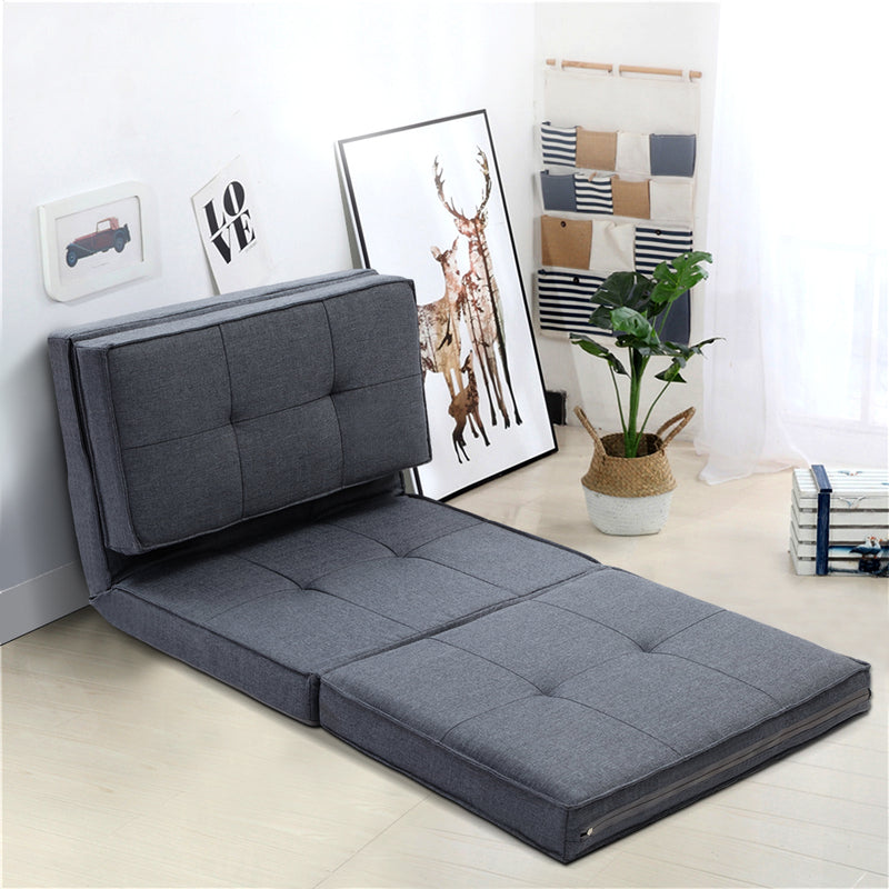 Artiss Lounge Sofa Bed Floor Couch Recliner Chaise Chair Futon Folding Grey - Sale Now