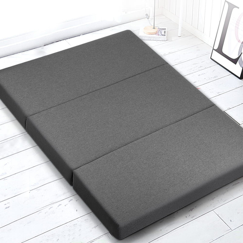 Giselle Bedding Double Size Folding Foam Mattress Portable Bed Mat Dark Grey - Sale Now