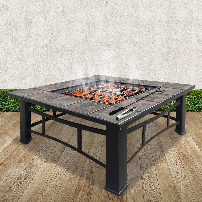 Grillz Outdoor Fire Pit BBQ Table Grill Fireplace Ice Bucket with Table Lid - Sale Now