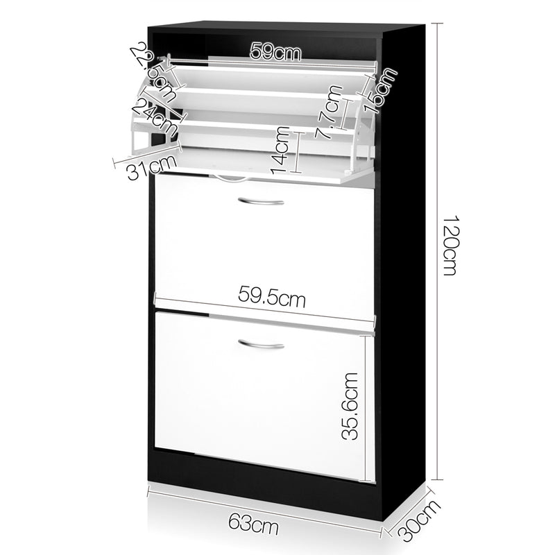 Artiss 3 Tier Shoe Cabinet - Black & White - Sale Now