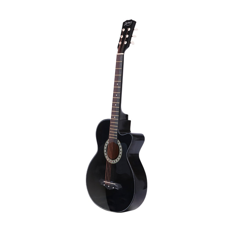 ALPHA 38 Inch Wooden Acoustic Guitar with Accessories set Black - Sale Now