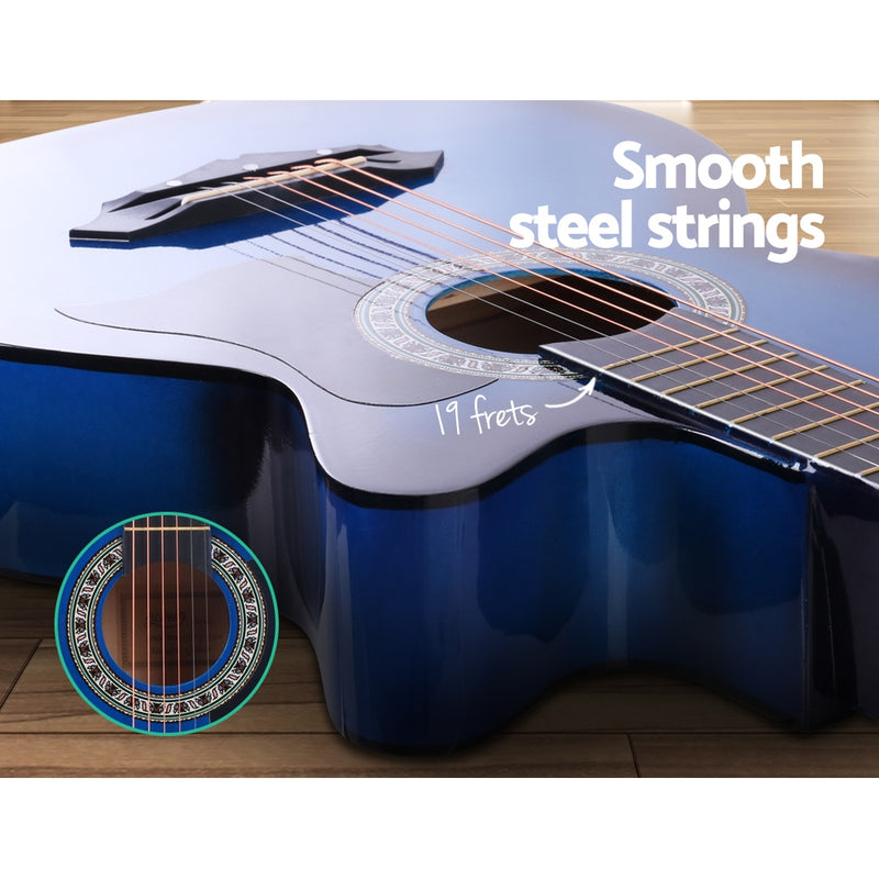 ALPHA 38 Inch Wooden Acoustic Guitar Blue - Sale Now