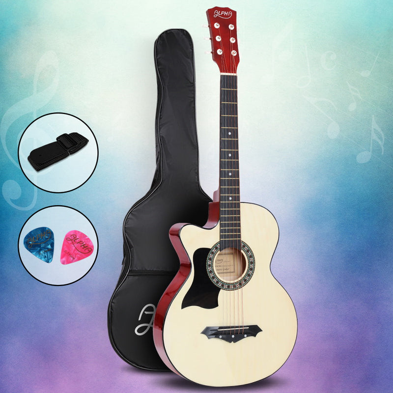 ALPHA 38 Inch Wooden Acoustic Guitar Left handed - Natural Wood - Sale Now
