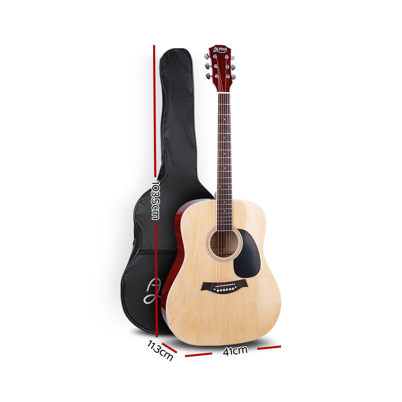 ALPHA 41 Inch Wooden Acoustic Guitar Natural Wood - Sale Now