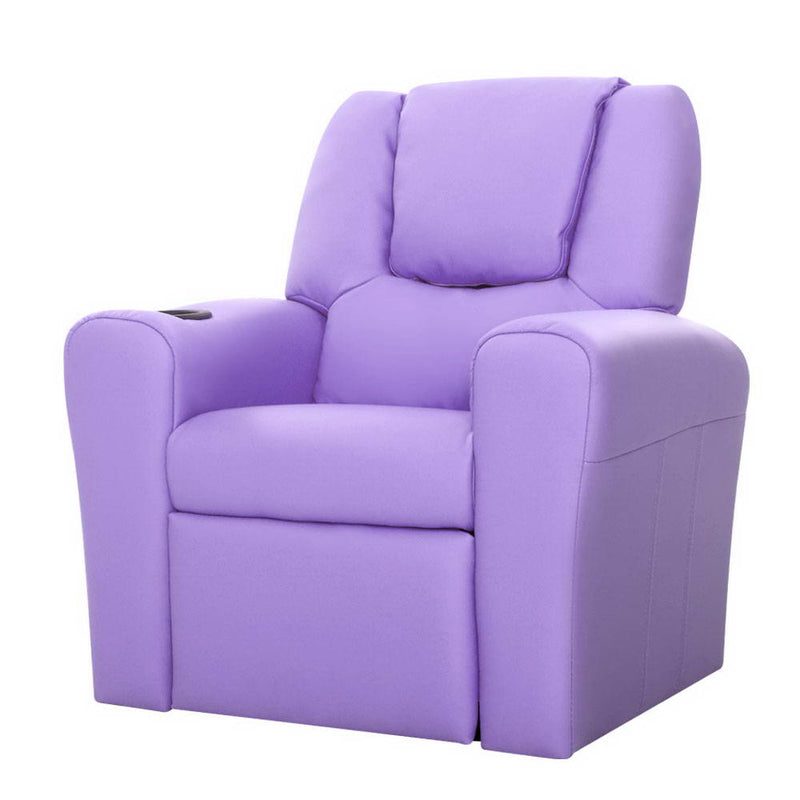 Keezi Luxury Kids Recliner Sofa Children Lounge Chair PU Couch Armchair Purple