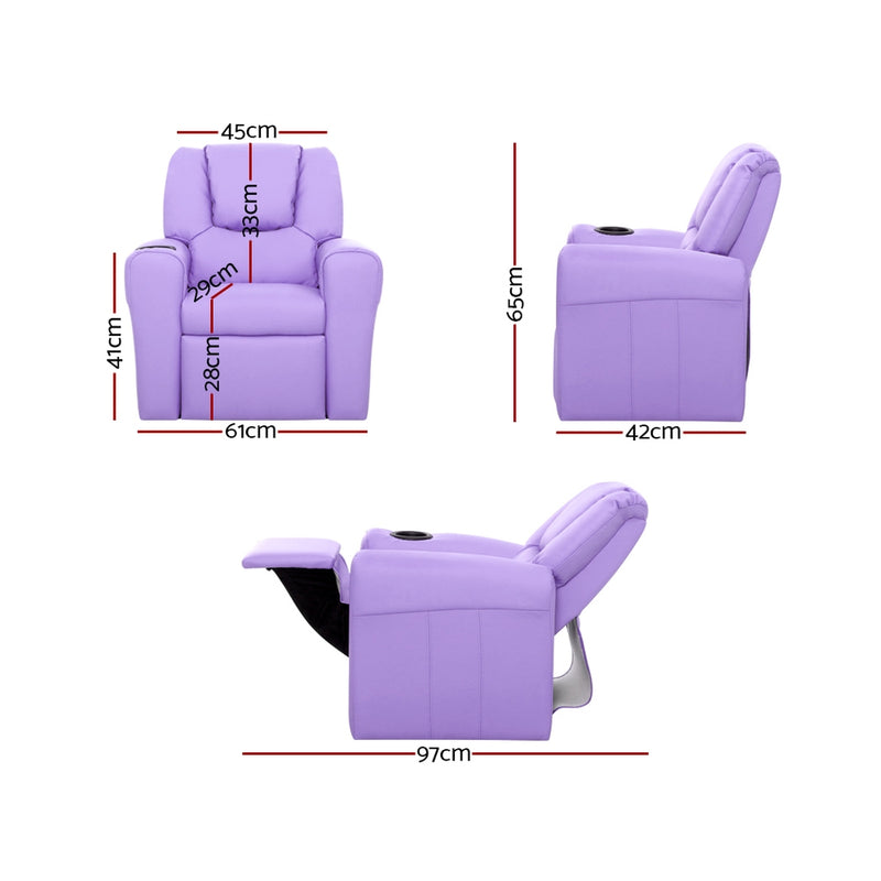 Keezi Luxury Kids Recliner Sofa Children Lounge Chair PU Couch Armchair Purple - Sale Now