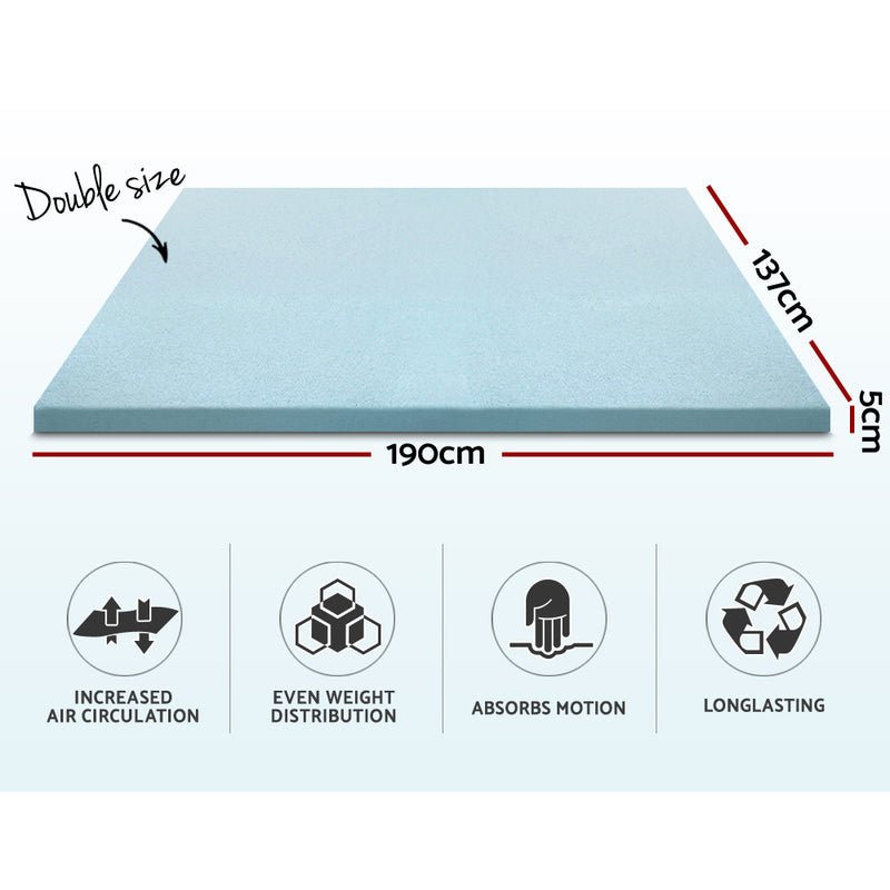 Giselle Bedding Cool Gel Memory Foam Mattress Topper w/Bamboo Cover 5cm - Double