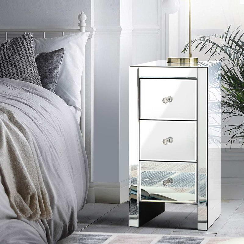 Artiss Mirrored Bedside table Drawers Furniture Mirror Glass Quenn Silver - Sale Now