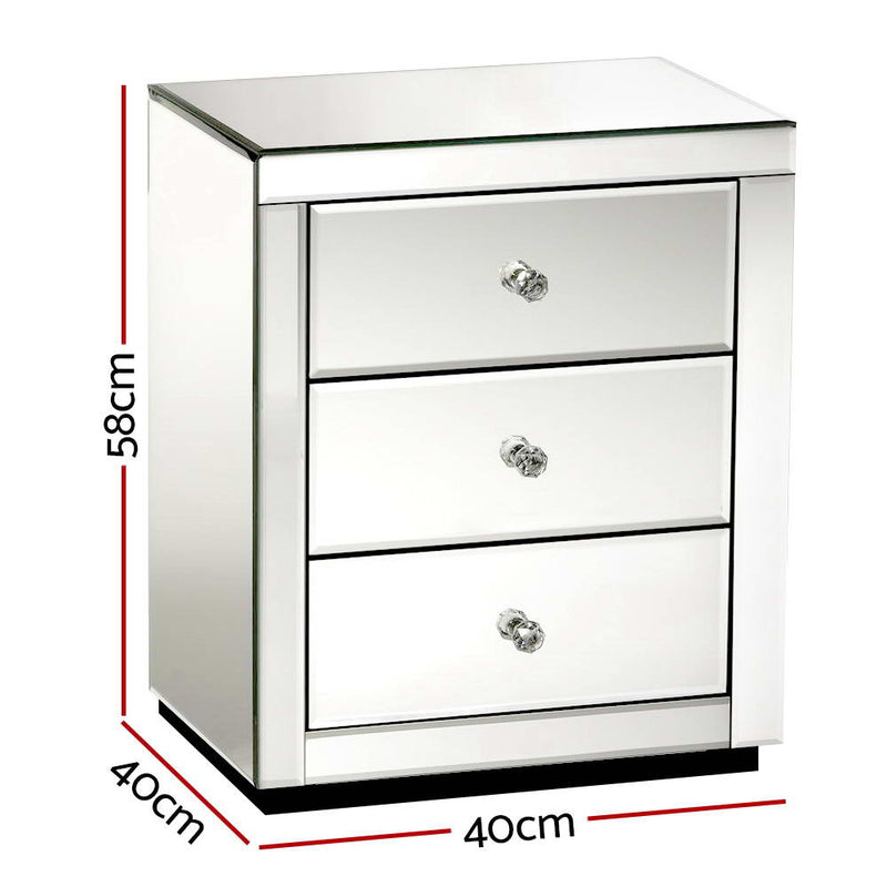 Artiss Mirrored Bedside Table Drawers Furniture Mirror Glass Presia Silver - Sale Now