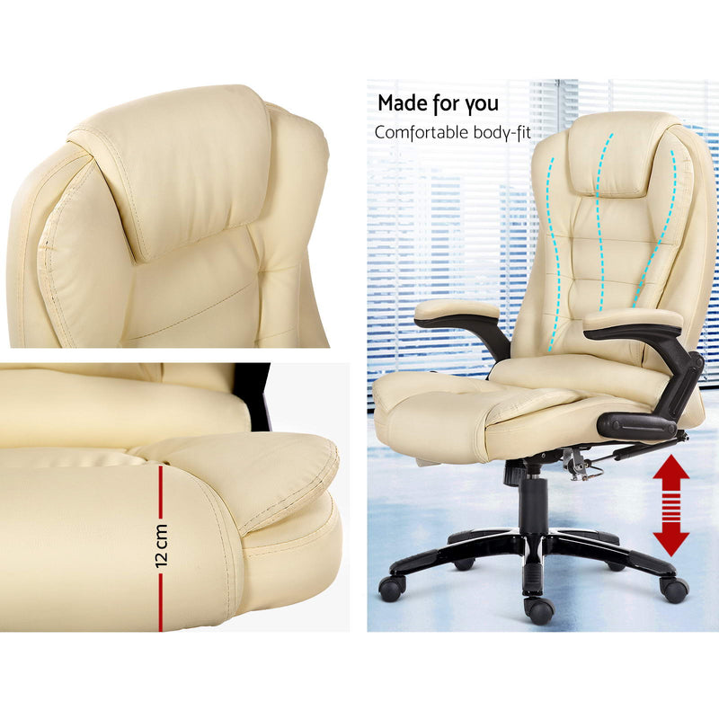 8 Point PU Leather Reclining Massage Chair - Beige - Sale Now