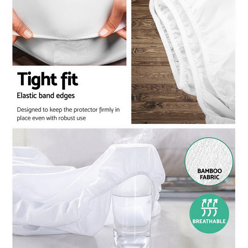 Giselle Bedding King Single Size Waterproof Bamboo Mattress Protector - Sale Now