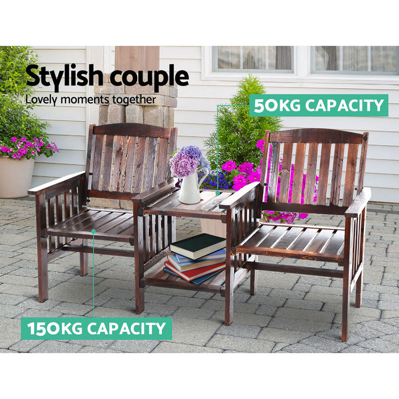 Gardeon Garden Bench Chair Table Loveseat Wooden Outdoor Furniture Patio Park Charcoal - Sale Now
