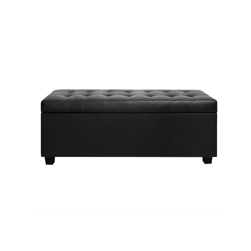 Artiss PU Leather Storage Ottoman - Black - Sale Now