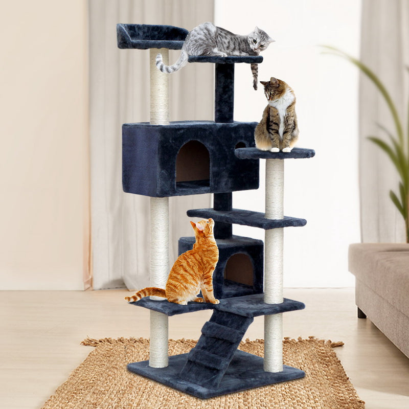 i.Pet Cat Tree 134cm Trees Scratching Post Scratcher Tower Condo House Furniture Wood Grey - Sale Now