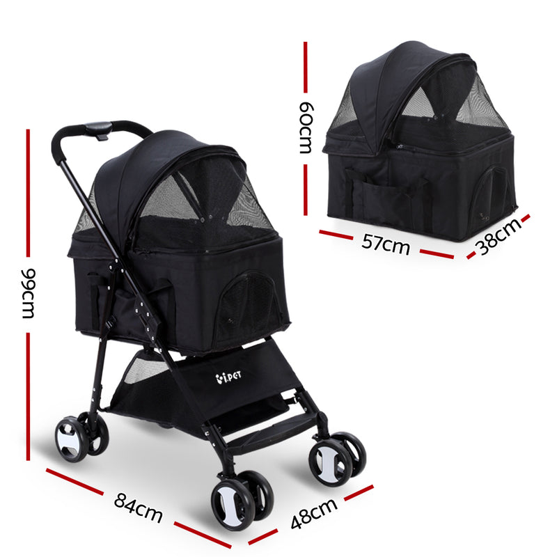 i.Pet Pet Stroller Dog Carrier Foldable Pram 3 IN 1 Middle Size Black - Sale Now