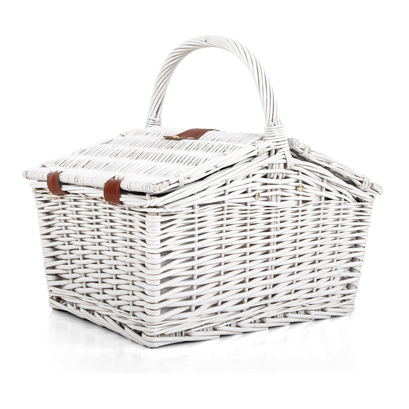 Alfresco 2 Person Picnic Basket Baskets White Deluxe Outdoor Corporate Blanket Park - Sale Now