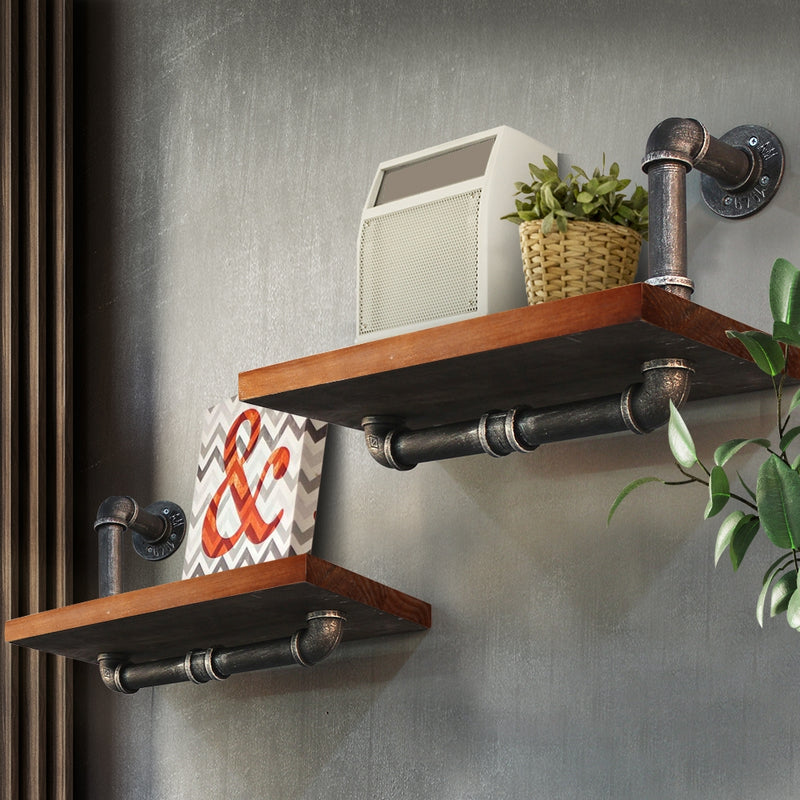 Artiss Wall Shelves Rustic Bookshelf Retro Display Shelves Industrial DIY Pipe Shelf Floating Brackets - Sale Now