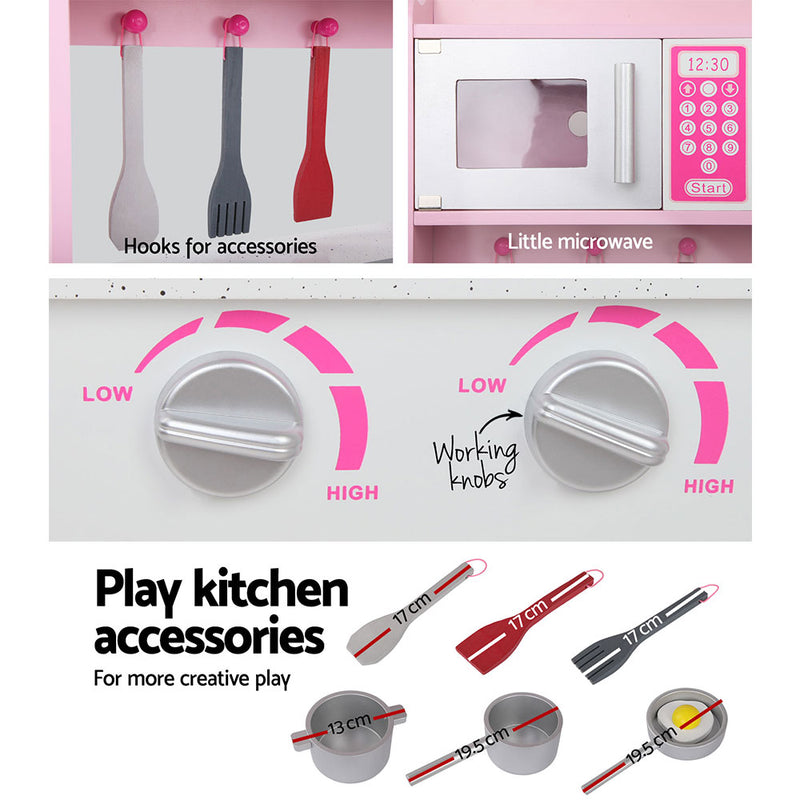 Keezi Kids Wooden Kitchen Play Set - Pink & Silver - Sale Now