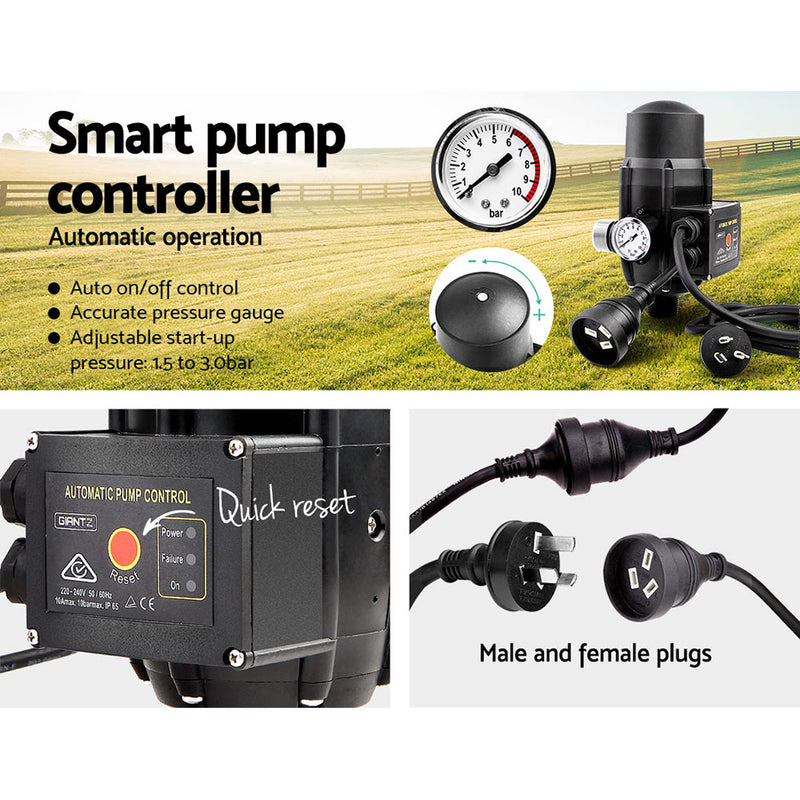 Giantz Auto Peripheral Pump Clean Water Garden Farm Rain Tank Irrigation QB60