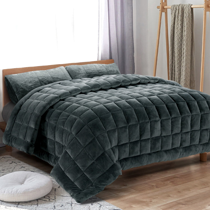 Giselle Bedding Faux Mink Quilt Comforter Throw Blanket Doona Charcoal Queen - Sale Now