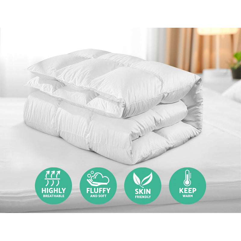 Giselle Bedding 800GSM Goose Down Feather Quilt Cover Duvet Winter Doona White Queen - Sale Now