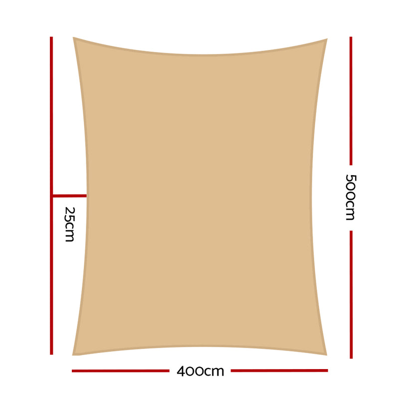 Instahut 4 x 5m Waterproof Rectangle Shade Sail Cloth - Sand Beige - Sale Now