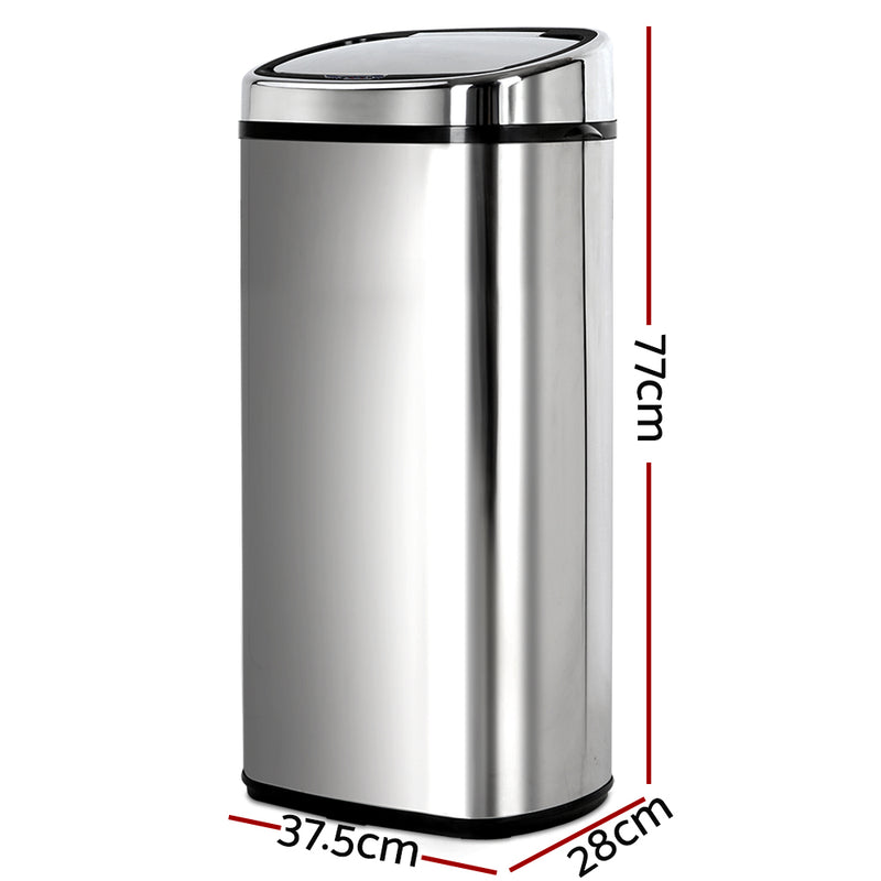 68L Stainless Steel Motion Sensor Rubbish Bin - Sale Now