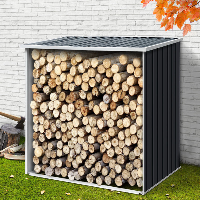 Giantz Log Firewood Storage Shed Galvanised Steel Garden Outdoor 2m³ Shelter 163x83x154CM - Sale Now
