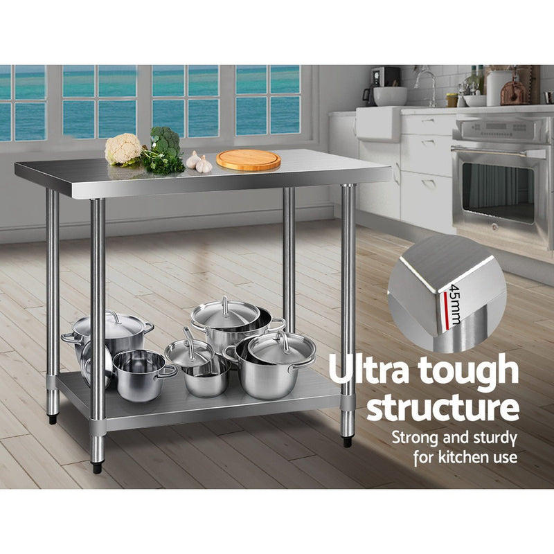 Cefito 1219 x 610mm Commercial Stainless Steel Kitchen Bench - Sale Now