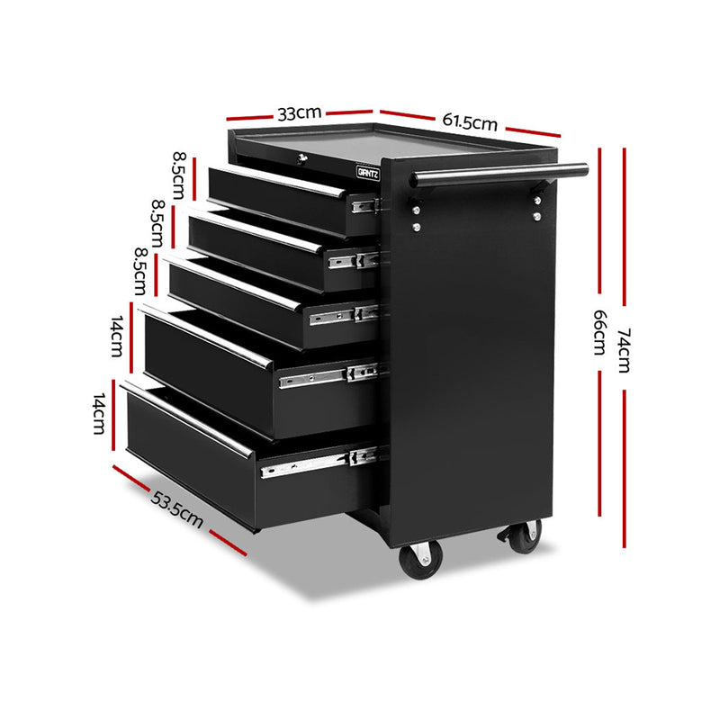 Giantz 5 Drawer Mechanic Tool Box Storage Trolley - Black - Sale Now